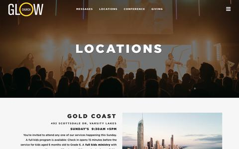 Screenshot of Locations Page glowchurch.com.au - Locations - Glow Church - captured July 15, 2018