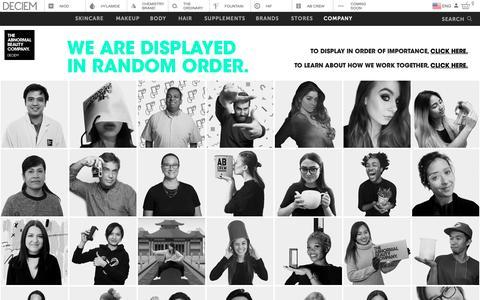 Screenshot of Team Page deciem.com - DECIEM | People - captured Jan. 16, 2019