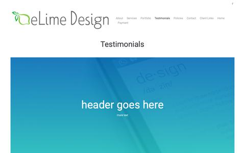 Screenshot of Testimonials Page elimedesign.com - Testimonials – eLime Design Studio - captured Dec. 13, 2018