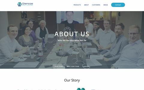 Screenshot of About Page glencoesoftware.com - About Us | Glencoe Software, Inc. - captured July 19, 2018