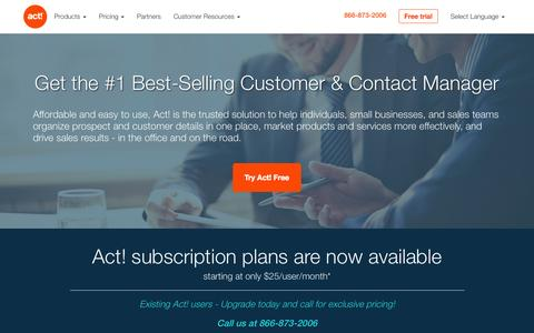 Screenshot of Home Page act.com - Act! Contact Management Software - captured Oct. 7, 2015