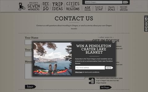 Screenshot of Contact Page traveloregon.com - Contact Us | Travel Oregon - captured June 29, 2017