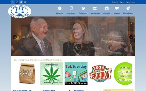 Screenshot of Home Page lakebar.org - Lake County Bar Association - captured Jan. 24, 2016