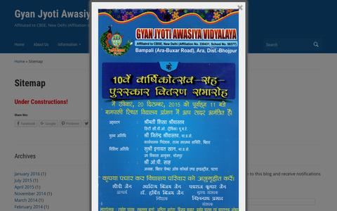 Screenshot of Site Map Page gjav.in - Sitemap - Gyan Jyoti Awasiya Vidyalaya - captured Feb. 2, 2016