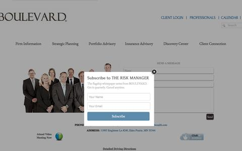 Screenshot of Contact Page boulevardwealth.com - Boulevard Wealth Management Contact - captured Oct. 11, 2017