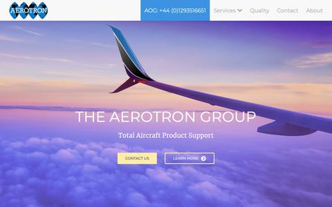 Screenshot of Home Page aerotron.co.uk - Aerotron — One of Europe's leading suppliers to the aviation     industry - captured Dec. 18, 2018