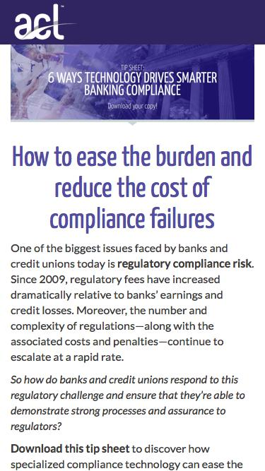 Screenshot of Landing Page  acl.com - Download 6 Ways Technology Drives Smarter Banking Compliance