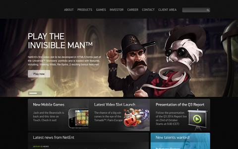 Screenshot of Home Page netent.com - NetEnt | Better Gaming - captured Jan. 23, 2015