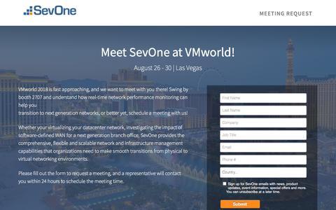 Screenshot of Landing Page sevone.com - Meet SevOne at VMworld! - captured Sept. 21, 2018