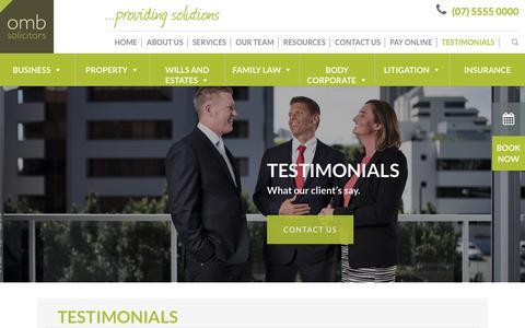 Screenshot of Testimonials Page omb.com.au - Testimonials - OMB Solicitors Gold Coast, Queensland - captured Oct. 18, 2018