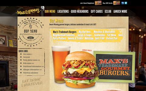 Screenshot of Menu Page maxandermas.com - Max & Erma's: Menu - captured Oct. 27, 2014