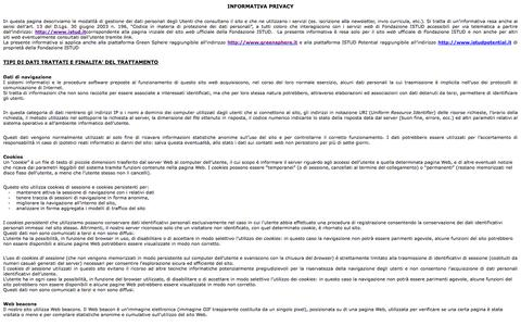 Screenshot of Privacy Page istud.it - Disclaimer per eform - captured Oct. 4, 2014