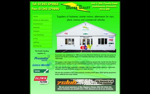 Screenshot of Home Page superstart.co.uk - Home - Super Start - Auto Electrical Supplies, Chichester - captured Oct. 4, 2014
