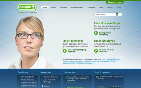 Screenshot of Home Page autopia.com.au - Novated Lease | Novated Leasing | Car Salary Packaging  - Autopia - captured Sept. 30, 2014