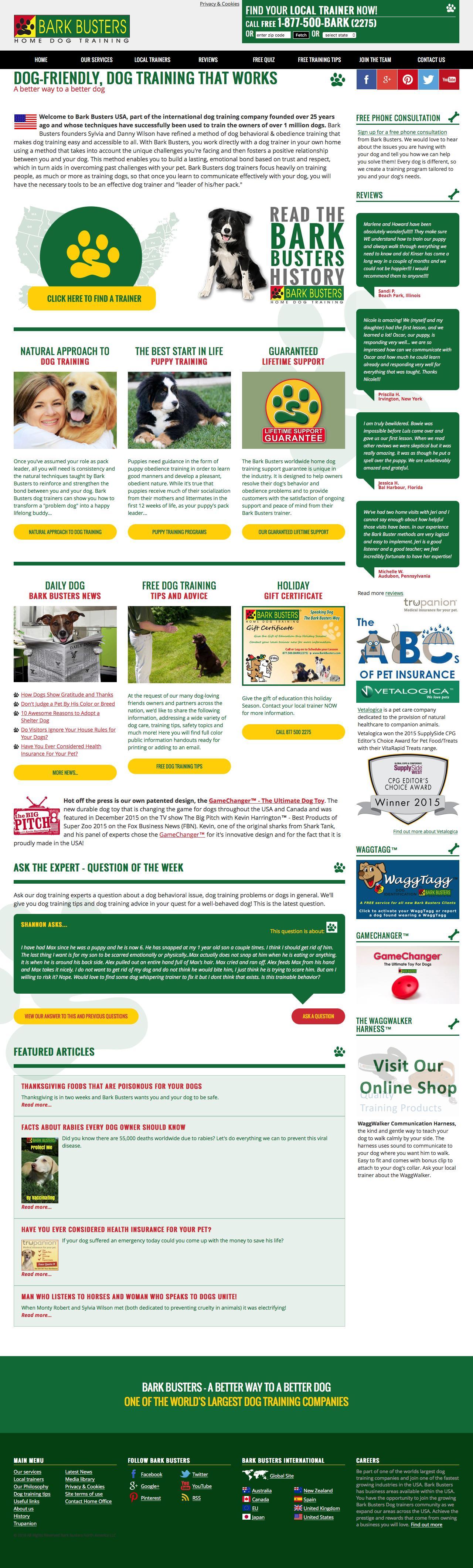 Screenshot of barkbusters.com - Home Dog Training Behavior & Obedience by Bark Busters - captured Nov. 22, 2016