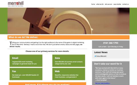 Screenshot of Services Page merrehill.co.uk - What We Do | Merrehill: Email marketing for businesses - captured Oct. 27, 2014