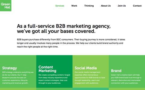 Screenshot of Services Page green-hat.com.au - B2B Marketing Services Melbourne | Green Hat - captured Sept. 5, 2019