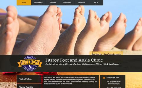 Screenshot of Home Page fitzpod.com - Fitzroy Foot and Ankle Clinic - Podiatrist - captured Feb. 10, 2016