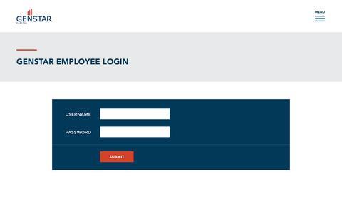 Screenshot of Login Page gencap.com - Employee Login - Genstar Capital - captured Nov. 5, 2016