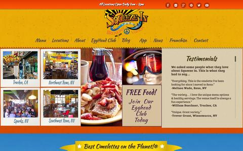 Screenshot of Menu Page Locations Page squeezein.com - SqueezeIn | The Best Omelettes on the Planet - captured Oct. 9, 2014