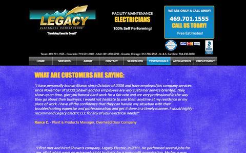 Screenshot of Testimonials Page legacyllcelectric.com - Legacy Electric,colorado,Utah,North Carolina electrician, contractor   TESTIMONIALS - captured July 28, 2017
