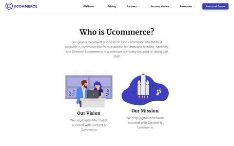 Screenshot of About Page Contact Page ucommerce.net - Company - Who is Ucommerce? – leading e-commerce platform for Umbraco, Kentico, Sitefinity and Sitecore - captured Oct. 5, 2018