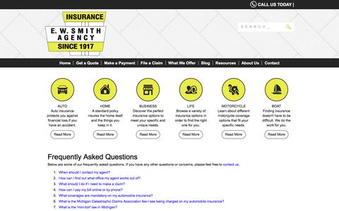 Screenshot of FAQ Page ewsmith.com - Frequently Asked Questions - EW Smith Insurance Agency - captured Sept. 30, 2016