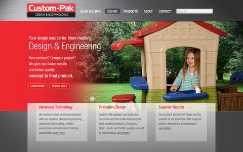 Screenshot of Home Page custom-pak.com - Custom-Pak Design & Blow Molding - captured Jan. 15, 2016
