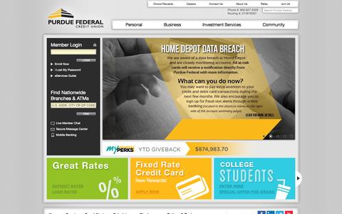 Screenshot of Home Page purduefed.com - Purdue Federal Credit Union - captured Sept. 22, 2014