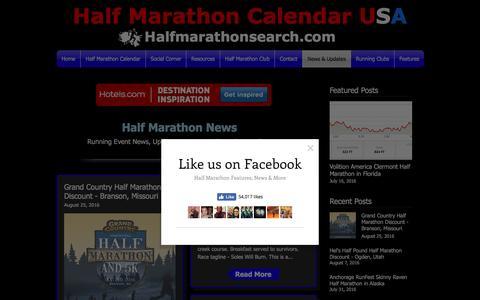 Screenshot of Press Page halfmarathonsearch.com - Half Marathon Running News, Discounts, Updates and Shout Outs - captured Oct. 19, 2016