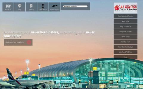 Screenshot of Home Page alkazimatravel.com - Al Kazima Travel and Tourism | Dubai,  United Arab Emirates - captured Oct. 4, 2014