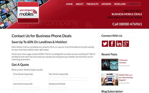 Screenshot of Contact Page yourcompanymobiles.co.uk - Business Mobile Phone Deals, Contact Your Company Mobiles - captured Oct. 29, 2014
