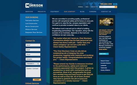 Screenshot of Testimonials Page chetmorrison.com - Client Testimonials | Chet Morrison Contractors - captured July 29, 2017