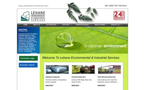 Screenshot of Home Page lehaneenvironmental.com - Lehane Environmental - Hazardous Waste Disposal Cork Ireland - 1850 730 730 - captured Oct. 2, 2014