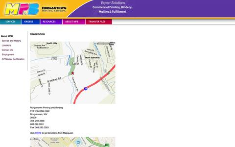 Screenshot of Maps & Directions Page morgantownprinting.com - Morgantown Printing and Binding: Directions - captured Oct. 7, 2014