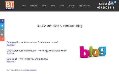 Screenshot of Blog biready.com.au - Data Warehouse Automation Blog - captured Nov. 18, 2016