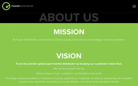 Screenshot of About Page fusionww.com - About Us - Fusion Worldwide - captured Oct. 10, 2019
