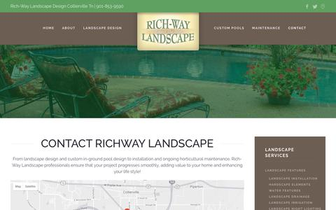 Screenshot of Contact Page richwaylandscape.com - Contact Landscape Designer - Rich-Way Landscape Collierville - captured Oct. 22, 2018
