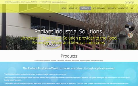 Screenshot of Products Page radiantuv.com - Radiant Industrial Solutions | PRODUCTS - captured Oct. 27, 2014