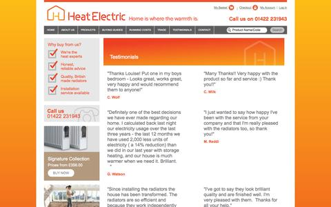 Screenshot of Testimonials Page heatelectric-uk.com - Heat Electric Ltd - captured Oct. 2, 2014