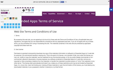 Screenshot of Terms Page expandedapps.com - Expanded Apps Terms of Service | - captured Feb. 2, 2016