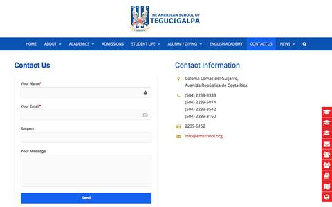 Screenshot of Contact Page amschool.org - Contact Us - American School of Tegucigalpa - captured Oct. 8, 2017