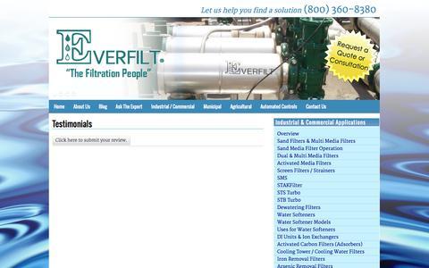 Screenshot of Testimonials Page everfilt.com - Testimonials | Everfilt - captured Sept. 30, 2014