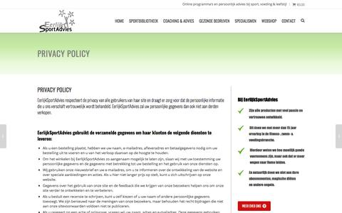 Screenshot of Privacy Page eerlijksportadvies.nl - Privacy policy - EerlijkSportAdvies - captured July 16, 2018