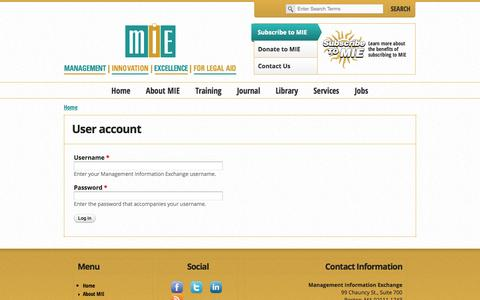 Screenshot of Login Page mielegalaid.org - User account | Management Information Exchange - captured Oct. 4, 2014