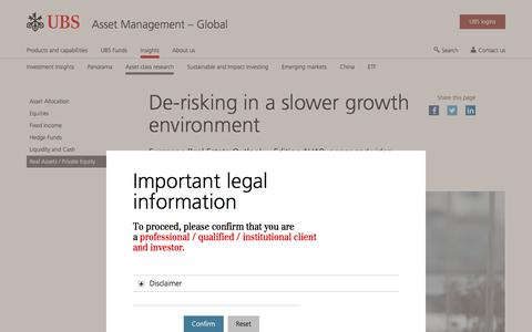 Screenshot of Team Page ubs.com - De-risking in a slower growth environment | UBS Global topics - captured Nov. 14, 2019
