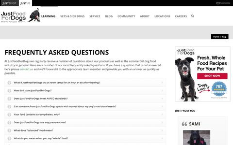 Screenshot of FAQ Page justfoodfordogs.com - Just Food For Dogs   –  Faq - captured July 13, 2018