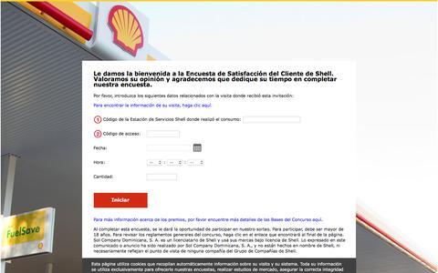 Screenshot of Landing Page shell.com - Shell República Dominicana Encuesta de Satisfacción del Cliente - Bienvenido - captured Aug. 12, 2016