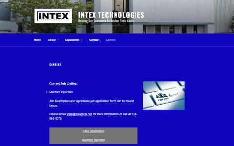 Screenshot of Jobs Page intextech.net - Careers - Intex Technologies - captured Oct. 15, 2017