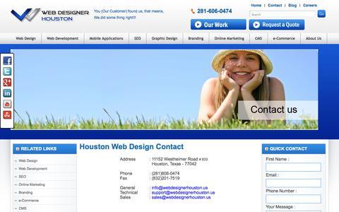 Screenshot of Contact Page webdesignerhouston.us - Contact Us | Houston Web Design | Website Design Houston - captured Oct. 3, 2014